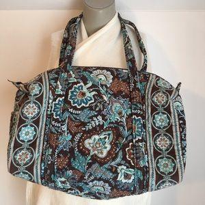 Vera Bradley Duffel Bag, Large, Blue & Brown